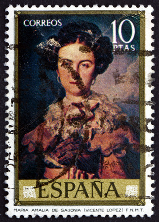 SPAIN - CIRCA 1973: a stamp printed in the Spain shows Maria Amalia de Sajonia, Painting by Vicente Lopez, circa 1973