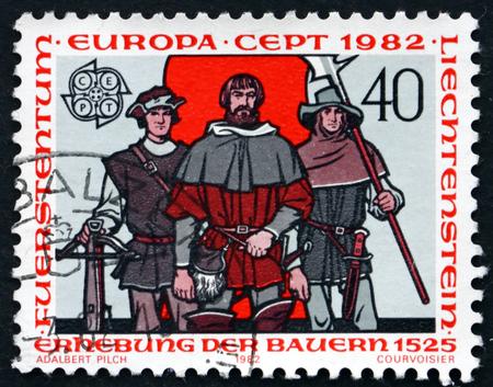 uprising: LIECHTENSTEIN - CIRCA 1982: a stamp printed in the Liechtenstein dedicated to Peasants� Uprising, 1525, circa 1982