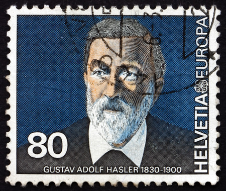 pioneer: SWITZERLAND - CIRCA 1980: a stamp printed in the Switzerland shows Gustav Adolf Hasler, Communications Pioneer, circa 1980 Editorial