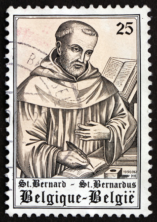 st  bernard: BELGIUM - CIRCA 1990: a stamp printed in the Belgium shows St. Bernard, 900th Birth Anniversary, circa 1990 Editorial