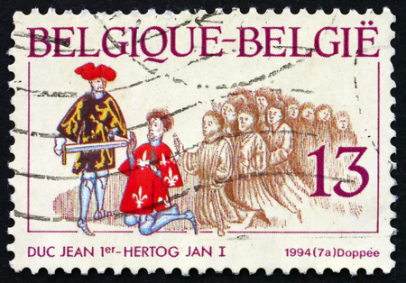 squire: BELGIUM - CIRCA 1994: a stamp printed in the Belgium shows Reconciliation between John I and Arnold, Squire of Wezemaal, Scene from Brabantse Yeesten, 15th Century Illuminated Manuscript, circa 1994