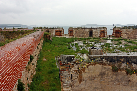 st nicholas: Detail of St. Nicholas fortress. Fortress is located in the town of Sibenik, on the eastern shores of the Adriatic, in central Dalmatia, Croatia