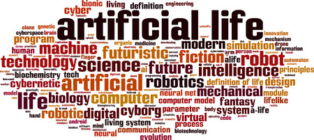 lifelike: Artificial life word cloud concept. Vector illustration