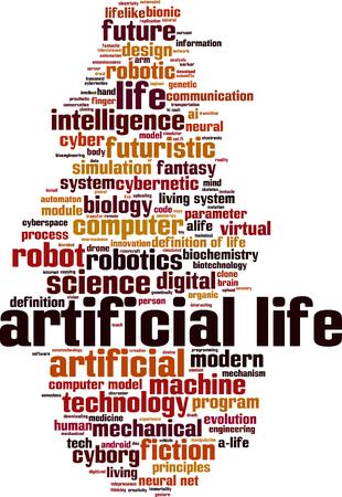 parameter: Artificial life word cloud concept. Vector illustration