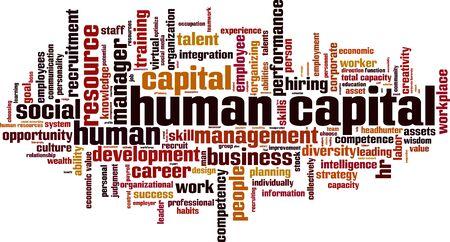 concepto de nube de palabras de capital humano. ilustración vectorial