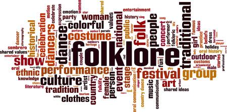 comunicacion oral: Folclore palabra nube concepto. ilustraci�n vectorial