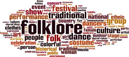 Folklore word cloud concept. Vector illustration