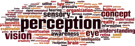 perception: Percepci�n de las palabras concepto de la nube. ilustraci�n vectorial Vectores
