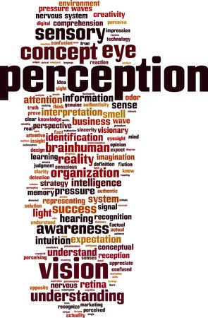 percepci�n: Percepci�n de las palabras concepto de la nube. ilustraci�n vectorial Vectores
