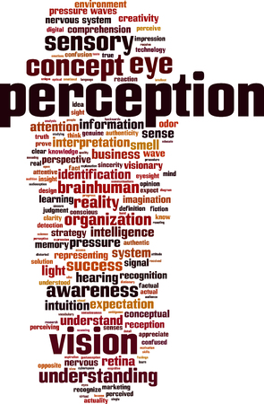 perception: Perception word cloud concept. Vector illustration