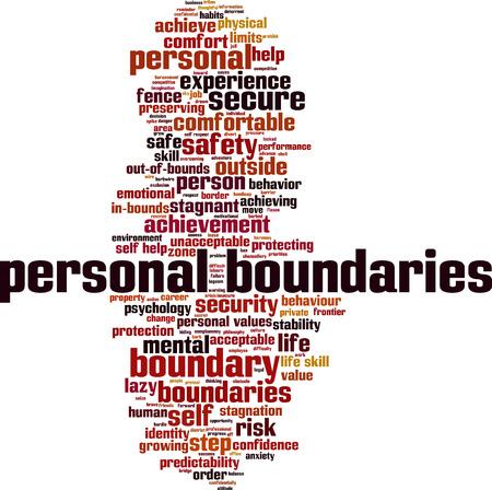 boundaries: Personal boundaries word cloud concept. Vector illustration