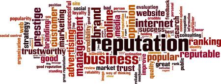 Reputación palabra nube concepto. ilustración vectorial