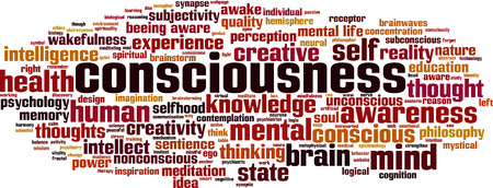 self conscious: Consciousness word cloud concept. Vector illustration