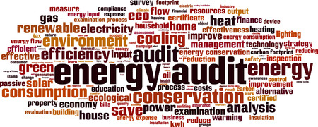 comercial: Energy audit word cloud concept. Vector illustration