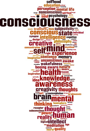 Consciousness word cloud concept. Vector illustration
