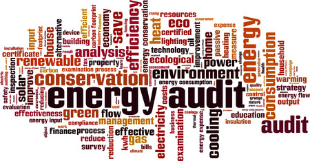 input output: Energy audit word cloud concept. Vector illustration