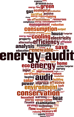 kwh: Energy audit word cloud concept. Vector illustration