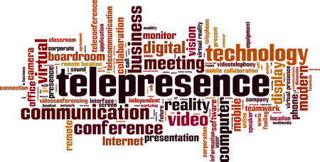 Telepresence word cloud concept. Vector illustration Illustration