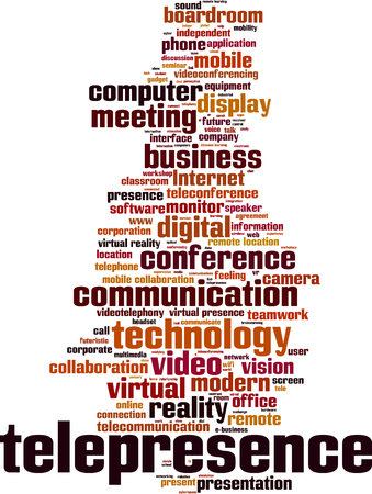 tele communication: Telepresence word cloud concept. Vector illustration Illustration