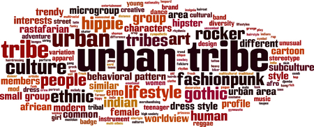 urban area: Urban tribe word cloud concept. Vector illustration Illustration