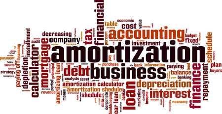 amortization: Amortization word cloud concept. Vector illustration