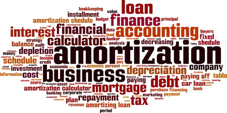 off balance: Amortization word cloud concept. Vector illustration