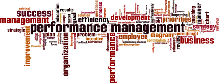 priorities: Performance management word cloud concept. Vector illustration