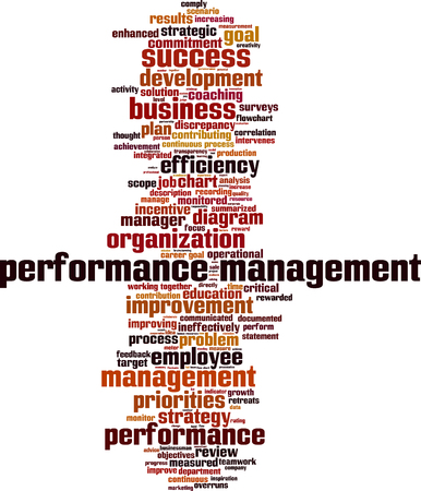 contributing: Performance management word cloud concept. Vector illustration