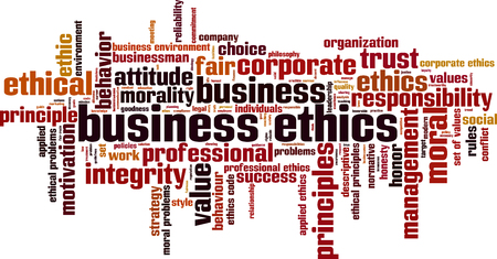 business ethics: Business ethics word cloud concept. Vector illustration