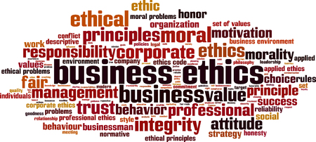moral: Business ethics word cloud concept. Vector illustration