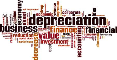 Depreciation word cloud concept. Vector illustration
