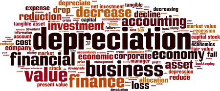 tangible: Depreciation word cloud concept. Vector illustration