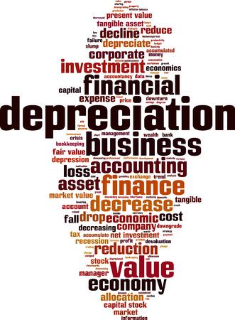 decline in values: Depreciation word cloud concept. Vector illustration