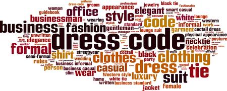 El código de vestimenta concepto de nube de palabras. ilustración vectorial