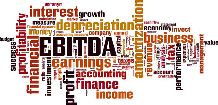 cash flow statement: EBITDA word cloud concept. Vector illustration