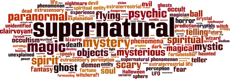 extrasensory: Supernatural word cloud concept. Vector illustration Illustration