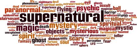 unexplained: Supernatural word cloud concept. Vector illustration Illustration