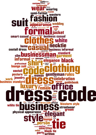 dress code: Dress code word cloud concept. Vector illustration