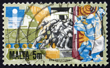 hauling: MALTA - CIRCA 1981: a stamp printed in Malta shows Man Hauling Building Stone, circa 1981