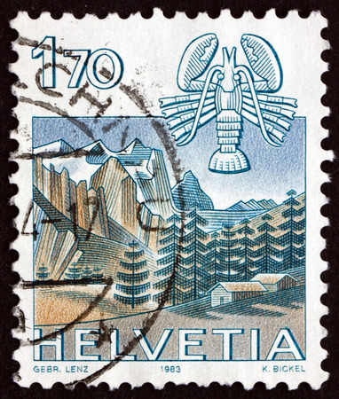 helvetia: SWITZERLAND - CIRCA 1983: a stamp printed in the Switzerland shows Cancer, Wetterhorn, Grindelwald, Sign of the Zodiac and Nature View, circa 1983