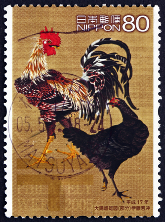 philately: JAPAN - CIRCA 2005: a stamp printed in the Japan shows Daikei-shiyu-zo, Painting by Jakuchu Ito, Philately Week, circa 2005