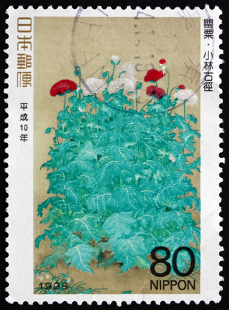 philately: JAPAN - CIRCA 1998: a stamp printed in the Japan shows Poppies, Painting by Kokei Kobayashi, Philately Week, circa 1998 Editorial