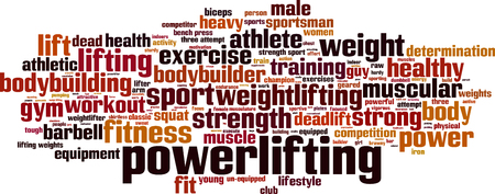 man lifting weights: Powerlifting word cloud concept. Vector illustration