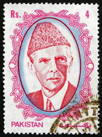 jinnah: PAKISTAN - CIRCA 1989: a stamp printed in Pakistan shows Mohammad Ali Jinnah, Lawyer, Politician and the Founder of Pakistan, circa 1989
