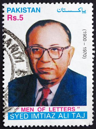 playwright: PAKISTAN - CIRCA 2001: a stamp printed in Pakistan shows Syed Imtiaz Ali Taj, Playwright, circa 2001