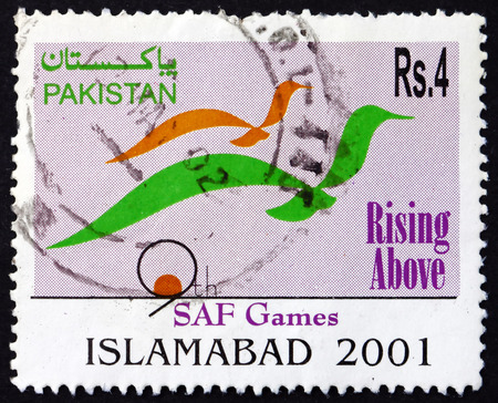 PAKISTAN - CIRCA 2001: a stamp printed in Pakistan dedicated to 9th SAF Games, Islamabad, circa 2001 Stok Fotoğraf - 55993203
