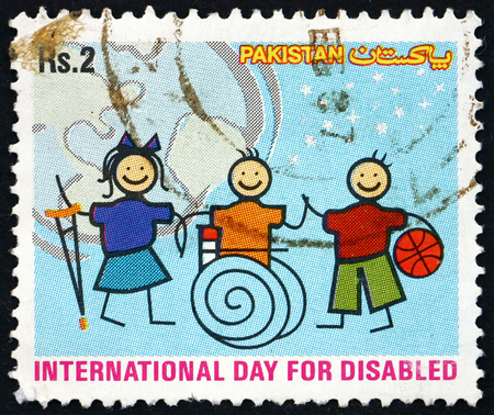 incapacitated: PAKISTAN - CIRCA 2003: a stamp printed in Pakistan dedicated to International Day of the Disabled, circa 2003