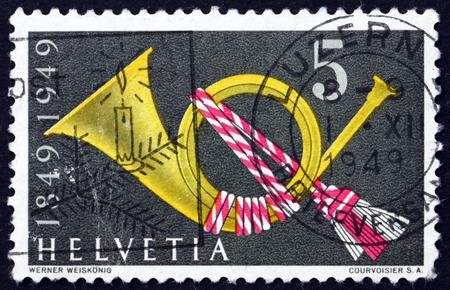 helvetia: SWITZERLAND - CIRCA 1949: a stamp printed in the Switzerland shows Post Horn, Symbol, circa 1949