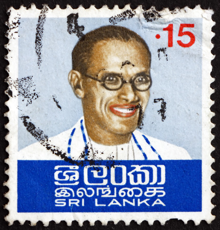 prime minister: SRI LANKA - CIRCA 1974: a stamp printed in Sri Lanka shows S.W.R.D. Bandaranaike, was the fourth Prime Minister of Ceylon, circa 1974