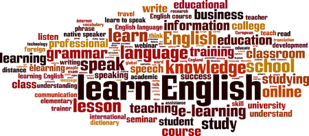 learn english: Learn English word cloud concept. Vector illustration